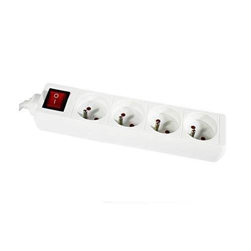 Regleta con 4 enchufes con interruptor, color blanco