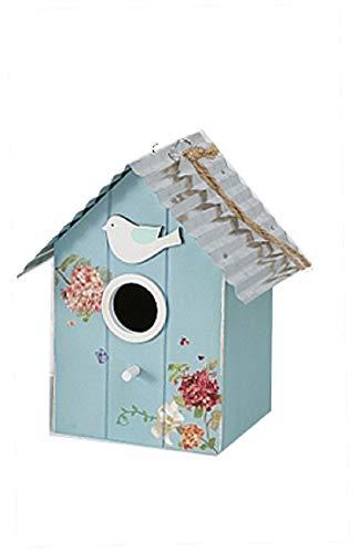 CasaJame Holz Vogelhaus für Balkon und Garten, Nistkasten, Haus für Vögel, Vogelhäuschen, Blau Blumen Deko, 18x16x12cm