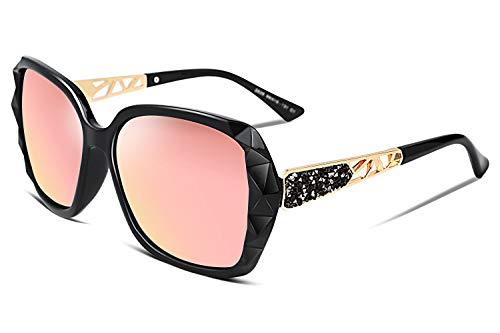 FEISEDY Occhiali da sole polarizzati classici da donna Moda UV400 Occhiali da sole oversize per le donne che guidano all'aperto B2289 (Pink-2, 58)
