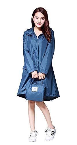 Raincoat Pluie élégante des Femmes Poncho Manteau de Pluie imperméable avec Capuche Manches et Pocket (Color : Ocean Blue, Size : XL)