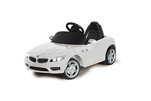 Jamara 404750 - Ride-on BMW Z4 weiß 27Mhz 6V - Kinderauto, leistungsstarker Motor und Akku, bis zu 90 Min. Fahrzeit, Ultra-Gripp Gummiring am Antriebsrad, Anschluss von Audioquellen,Bremse,Sound,Licht