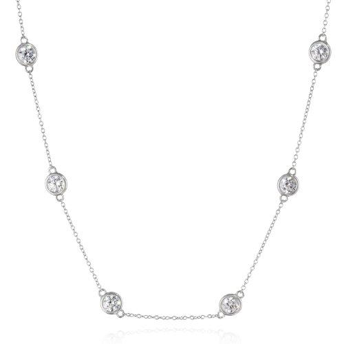 Platinum Plated Sterling Silver Station Necklace set with Swarovski Zirconia (5mm), 18