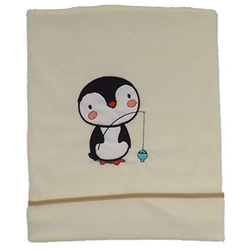 Ti TIN - Mantita para Bebé de Coralina de Terciopelo con un Pingüino Bordado para Coche - Minicuna - Cuna   Manta Ligera Cálida y Suave, 75x90 cm