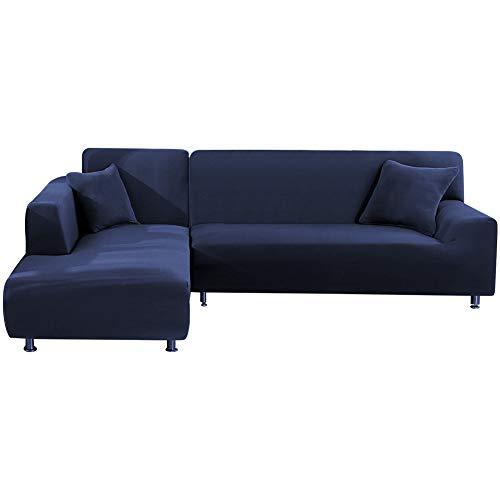 SUSSURRO 2 Stück Sofa Überwürfe Sofabezug, Elastisch Stretch Couch überzugL Form mit 2 Stück Kissenbezug, Sofabezüge Sofa Überzug Couch Bezug Sofaüberwurf L Form Sofa Abdeckung(Dunkel Blau)
