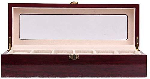 BRFDC Caja de Relojes de Cuero Caja de Reloj 6 Reloj Posiciones Simple tirón de Madera del Reloj de la Caja de Madera Caja de Reloj Caja de Almacenamiento for los Regalos a la Familia