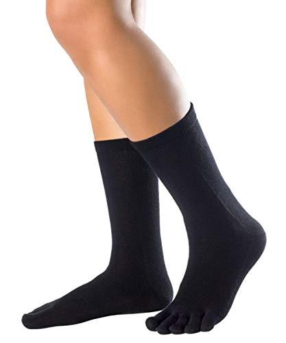 Knitido Essentials Cotton & Merino Melange | Calzini con dita caldi e comodi in lana merino e cotone, Misura:35-38, Colori:Black (101)