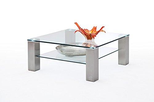 lifestyle4living Couchtisch, Tisch, Wohnzimmertisch, Salontisch, Sofatisch mit 2 Klarglas Ablagen, gebürstete Edelstahl-Optik, Maße: B/H/T ca. 90/40/90 cm