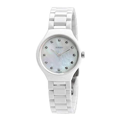 Rado Damen-Armbanduhr R27958912, True Thinline, 30 mm, weißes MOP-Zifferblatt, Keramik-Uhr