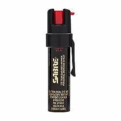 spray de pimienta compacto con clip SABRE ADVANCED - Spray de pimienta 3 en 1, gas lacrimógeno CS y tinte de marcado UV - Spray de OC de fuerza policial máxima, rango de 10 pies (3M), 35 ráfagas