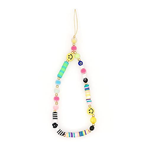 TFCK Beaded Phone Lanyard Wrist Strap,Smiley Face Beaded Phone Charm,Anti Lost Cute Rainbow Colored Fruit Smiley Face Soft Ceramic Mobile Bracelet 18