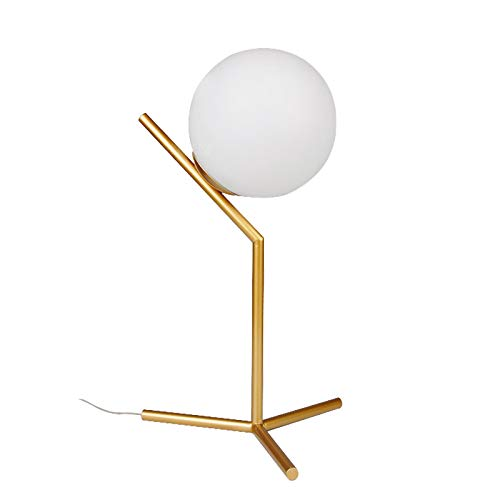 WEUN Globe Tischlampe, Mid-Century Gold Schreibtischlampe Metall Tischlampe für Schlafzimmer, Wohnzimmer, Kinderzimmer, Büro