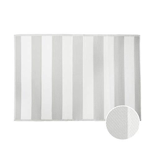 Butlers Colour Clash Outdoor Teppich Streifen 180x120cm in Grau-Weiß - Flachgewebe Teppich für Innen- und Außenbereich