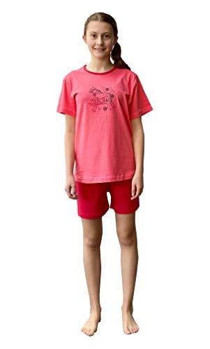 Mädchen Shorty Pyjama Schlafanzug Kurzarm mit Pferd als Motiv - 63956, Farbe:orange, Größe:134/140