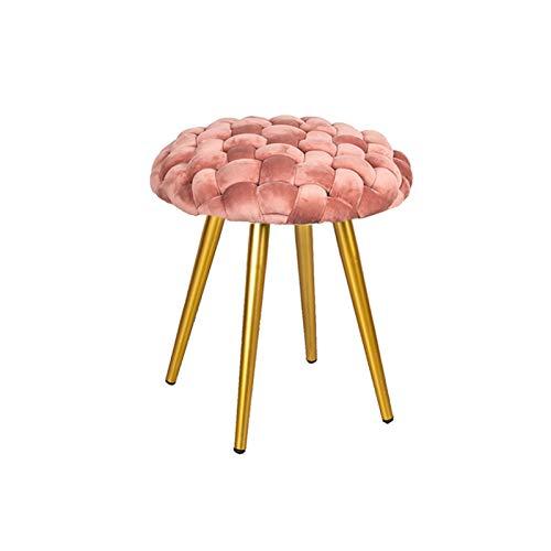 Wushu Taburetes Redondo de Moda, sofá Perezoso Tejido a Mano, Taburete de Cambio de Zapatos Creativo, Banco, Mesa de Centro, otomanos, reposapiés de aderezo (Color : Pink)