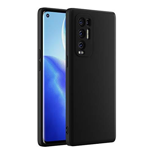 Cresee kompatibel mit Oppo Find X3 Neo 5G Hülle Hülle, Silikon Handyhülle mit [Kamera Schutz] [Faser-Innenraum] Anti-Scratch Dünn Schutzhülle Stoßfest Cover für Find X3 Neo, Schwarz