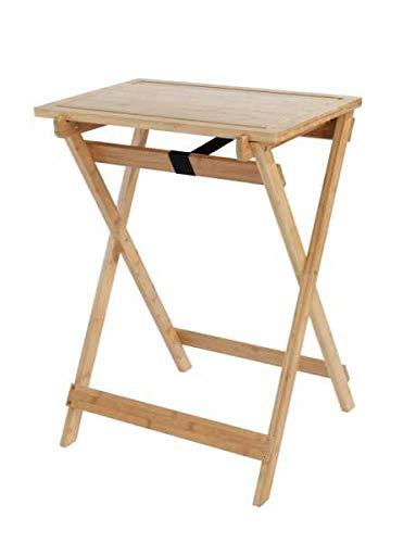 WENKO DIE BESSERE IDEE Table d'appoint Bois Pliable, 2en1 avec Plateau Amovible, Planche à découper, Bambou, Lugo