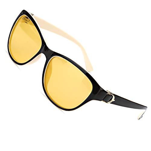 MuJaJa Gafas de conducción nocturna, gafas de visión nocturna polarizadas HD, gafas de visión clara antideslumbrante para mujeres que conducen de noche (Marco gris y blanco/Gafas de visión nocturna)
