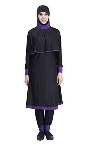 GladThink Muslim Damen Mädchen Burkini 2 Stück Badebekleidung Schwarz 2XL