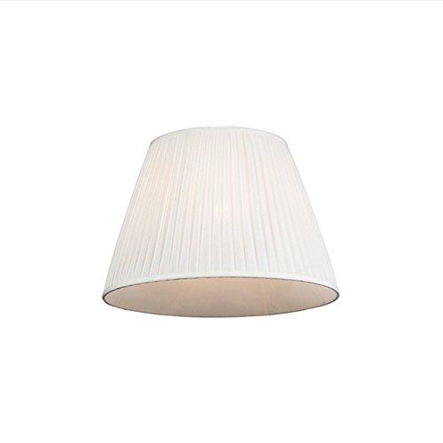 QAZQA Retro Seide Plissee Lampenschirm weiß 45 30 cm, Rund konisch Schirm Pendelleuchte,Schirm Stehleuchte