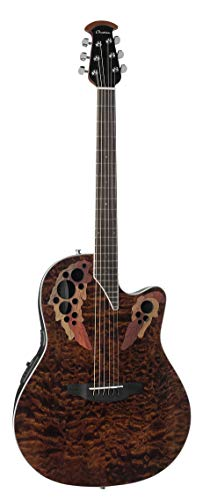 Ovation Celebrity Elite Plus Quilted Maple Top Acoustic-Electric Guitar, Tiger Eye
