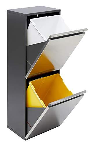 Arregui Vario CR205 Cubo de Basura y Reciclaje de Acero Inoxidable de 2 Cubos, Gris Oscuro, 89.5 x 31.6 x 25 cm