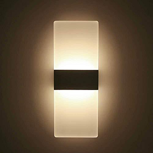 LED Lampada da Parete Interno 12W Luci di Bianco Caldo, Moderno Applique da Parete Interno, Lampada a Muro in Alluminio e Acrilico Perfetto per Soggiorno Corridoio Bagno Camera da letto Scale