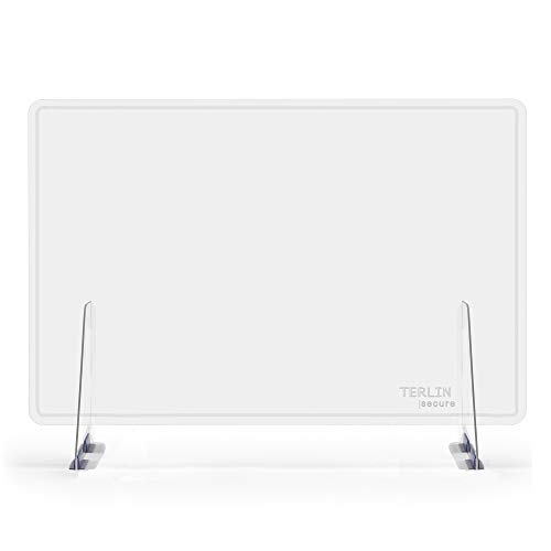 ellaTree Sneeze Guard Protective Barriers | Premium Clear Plastic Plexiglass Shield for Desk or Counter | Freestanding and Sturdy with Visibility Border - for Offices, Schools and Stores (48'W x 36'H)