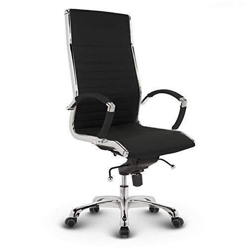 VERSEE Design Bürostuhl Chefsessel Montreal - Stoff - Schwarz - Drehstuhl, Bürodrehstuhl, Schreibtischstuhl, Chefstuhl, Designklassiker, hochwertige Verarbeitung, Stuhl, 150 kg belastbarkeit