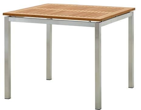 ECHT Teak Gartentische Holztisch Tisch in verschiedenen Größen Serie: Alpen von AS-S, Größe:90x90 cm Edelstahl