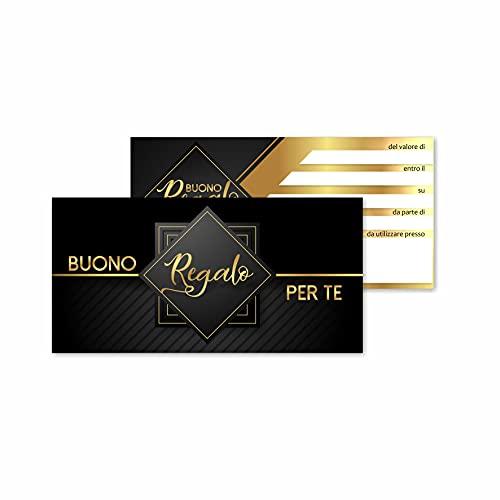 Buoni Regalo (25 o 50 pezzi) Biglietti Omaggio Gift Card Coupon Cartoncino Voucher da Compilare Offerta o Sconto Clienti. Per Negozi Abbigliamento Estetista Parrucchiera Gioielleria Studi (50)