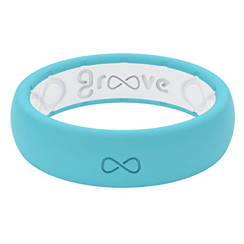 Groove Life Silicone Wedding Ring for Women - Breathable Rubber Rings for Women, Lifetime Coverage, Unique Design, Comfort Fit Womens Ring - Thin Solid Turquoise Size 7