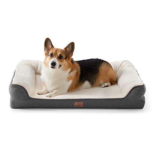 Bedsure orthopädische Hundebett große Hunde - Hundesofa mit Memory Foam, kuschelig Schlafplatz in Größe 71x58 cm, waschbare Hundesofa, grau und beige