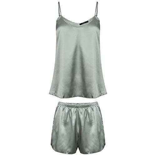Evoni Satin Pyjama Set | Kurze Hose + Nachthemd für Damen | hochwertige Nachtwäsche mit korrigierbaren Spagettiträgern | optimale Passform | sexy Schlafanzug Seide (XL, Silber)