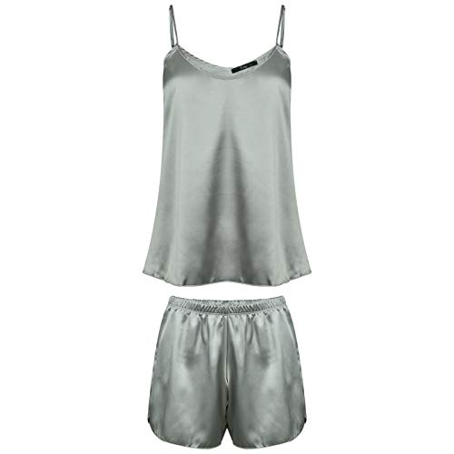 Evoni Satin Pyjama Set | Kurze Hose + Nachthemd für Damen | hochwertige Nachtwäsche mit korrigierbaren Spagettiträgern | optimale Passform | sexy Schlafanzug Seide (M, Silber)