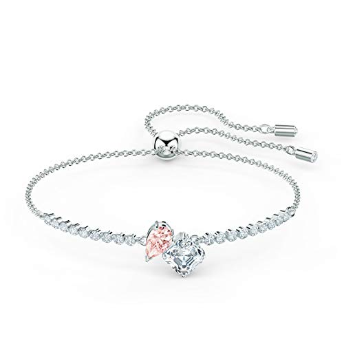 Swarovski Attract Soul Bangle Bracelet with Square Cut Clear Crystal on a Rhodium Plated Setting with Matching Chain