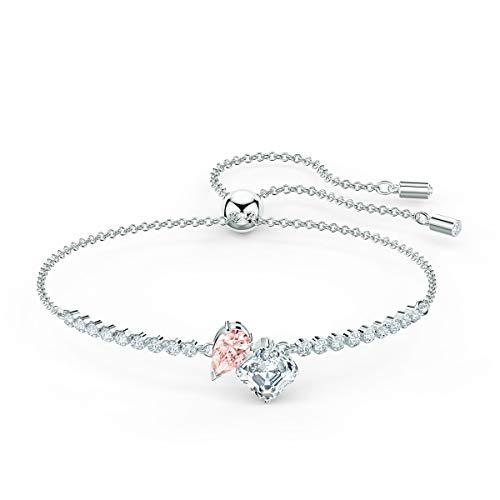 SWAROVSKI Women's Attract Soul Rhodium Finish Bracelet, Pink/White Crystal
