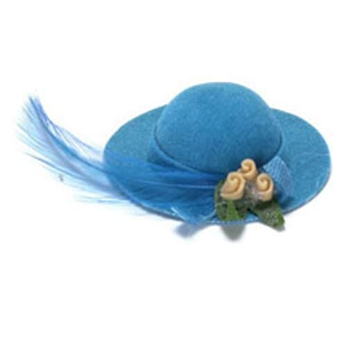 3920da5affc Melody Jane Dolls Houses House Miniature Millinery Shop Bedroom Accessory  Turquoise Lady's Hat