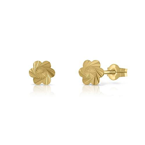 Pendientes Oro de Ley 18K Certificado. Niña/Mujer. Flor 6 petalos. Cierre de presión. Medida 5.5 mm. (1-1094)