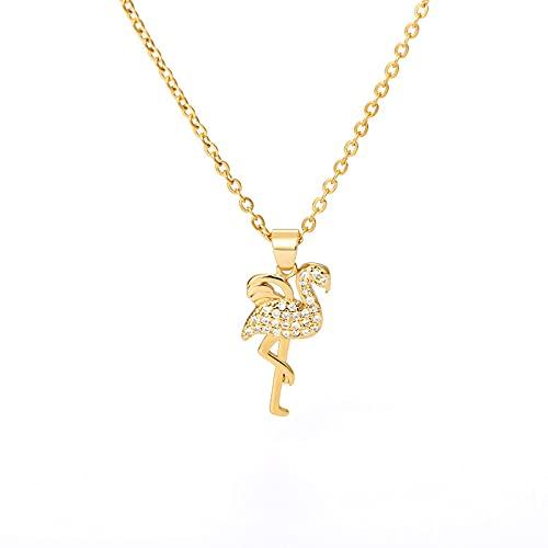 Collar de circón Noble Flamingo para mujeres, hombres, color dorado y plateado, collares con colgante de Animal femenino, joyería de moda