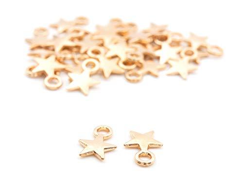 Vintageparts kleine Sternanhänger in goldfarben 30 Stück DIY Schmuck