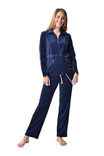 RAIKOU Damen Nicki Hausanzug mit Reißverschluss Velours Freizeitanzug Trainingsanzug (Nachtblau,40/42)