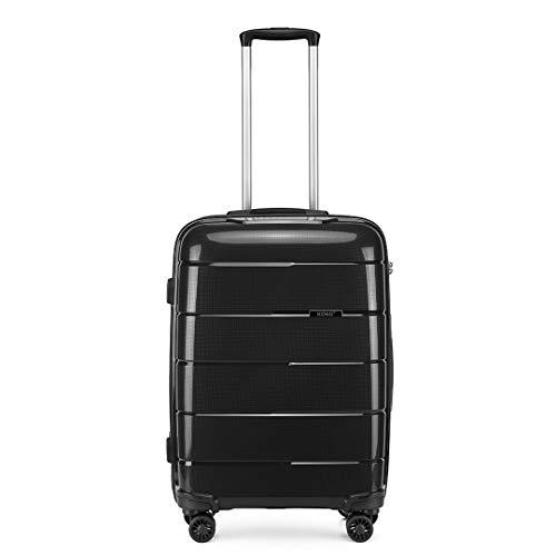 Kono Hard Shell 55cm Cabin Hand Luggage in TSA Lock 4 Wheeled Spinner Lightweight Polypropylene Suitcase with YKK Zipper (S (55cm - 38L), Black)