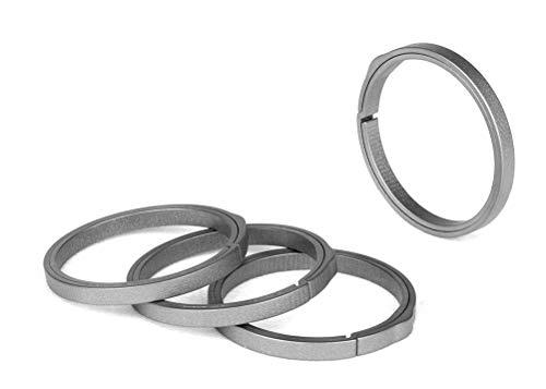 TISUR EDC Titanium Keyring, Side-Pushing Designed (4-Pack) Key Chain Key Rings Holder Split Rings, Group Your Keys (4 K33)