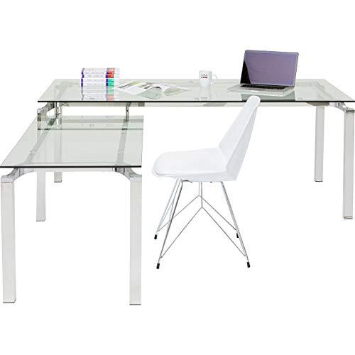 Kare Schreibtisch Lorenco Chrom Winkelcombi 210x180cm, Glas, Silber, 180 x 210 x 72