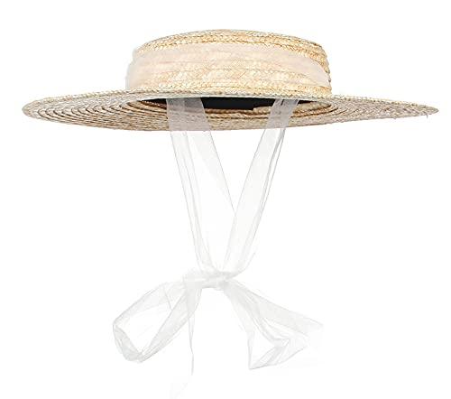 GEMVIE-Sombrero Paja Verano Niños Sombrero Canotier Niño y Niña Sombrero Pork Pie Paja Niña Sombrero para el Sol Protector Solar UPF50+