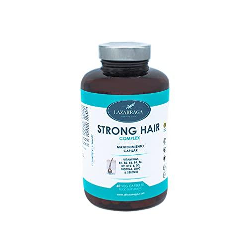 Lazarraga Complejo STRONG HAIR | Crecimiento y Fortalecimiento del Pelo | Biotina + Zinc + Selenio + Vitamina B1,B2, B3, B5, B6, B9, B12 Vitamina D, E | 60 Cápsulas Vegetales