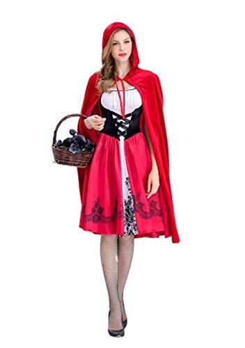 fagginakss Mujeres Caperucita Roja Adulto Cosplay Vestido de Navidad Juego de Roles de Halloween Disfraz de Reina Club Nocturno