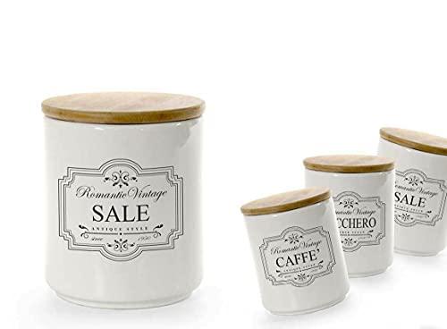 Kasahome Set 3 barattoli contenitori in ceramica tappo in legno sale zucchero caffè Cotenitore cibo Spezie 10x12 cm