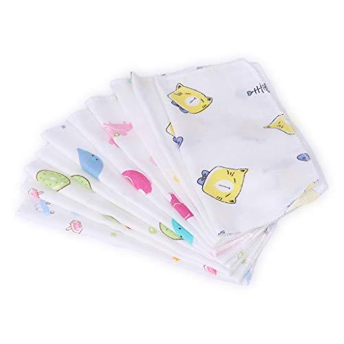 KERDEJAR 10 pañuelos cuadrados para recién nacidos de doble capa de gasa para toallas de bebé