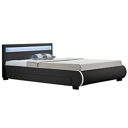 Polsterbett Bilbao 180x200 cm – Bett mit Bettkasten, LED-Beleuchtung & Lattenrost – Bettgestell Holz und Kunstleder – Doppelbett schwarz